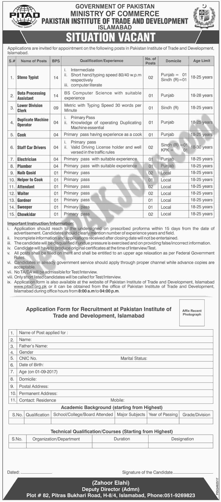 Ministry of commerce Jobs in Pakistan Institute of Trade And Development