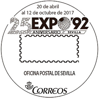 Matasellos conmemorativo del 25 aniversario de la Expo 92 - Oficina Postal de Sevilla - 2017