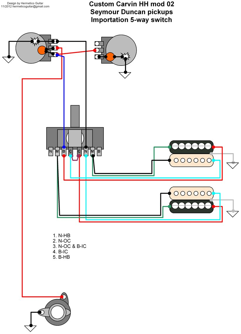 Wiring Diagram: Custom Carvin mods 02 and 03. Classification Guitar Moded
