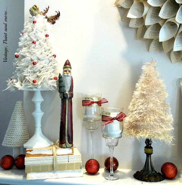Vintage, Paint and more... Christmas mantel with diy'd trees of burlap, fun fur yarn and silk cord