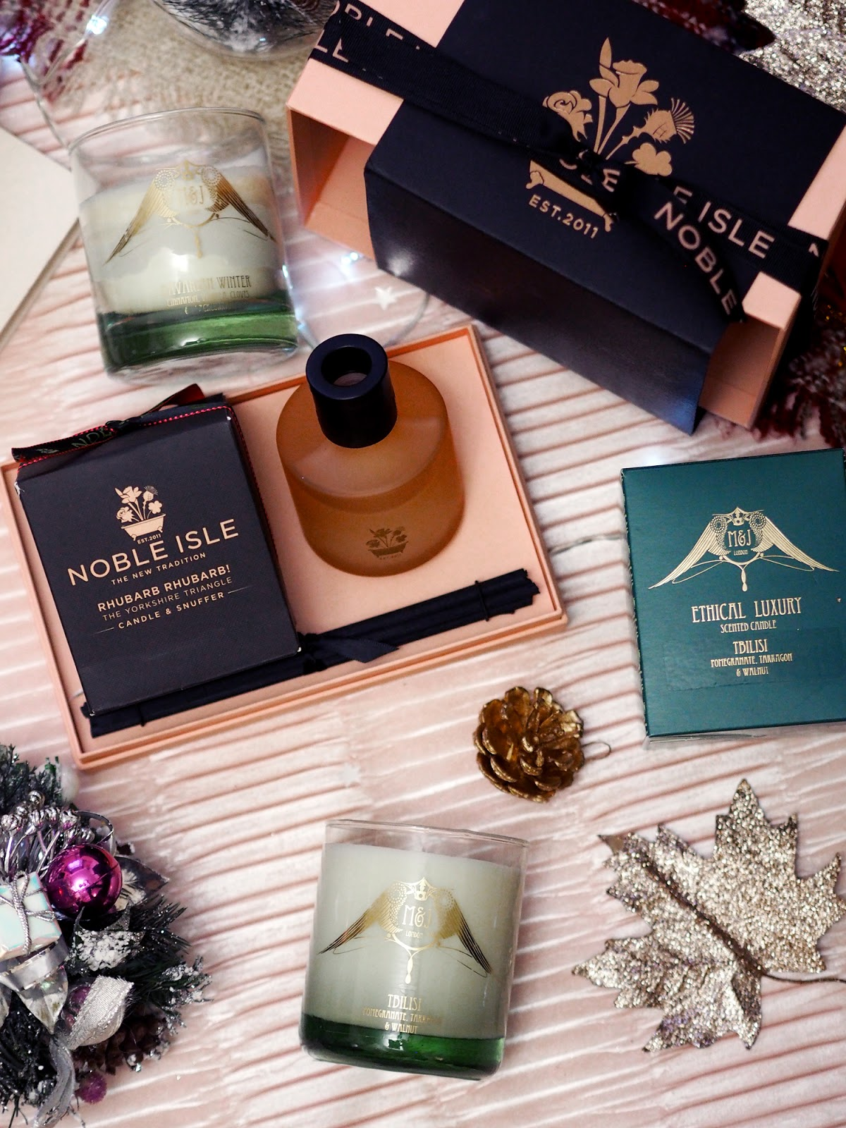 perfume gift guide candles noble isle rhubarb m&j london