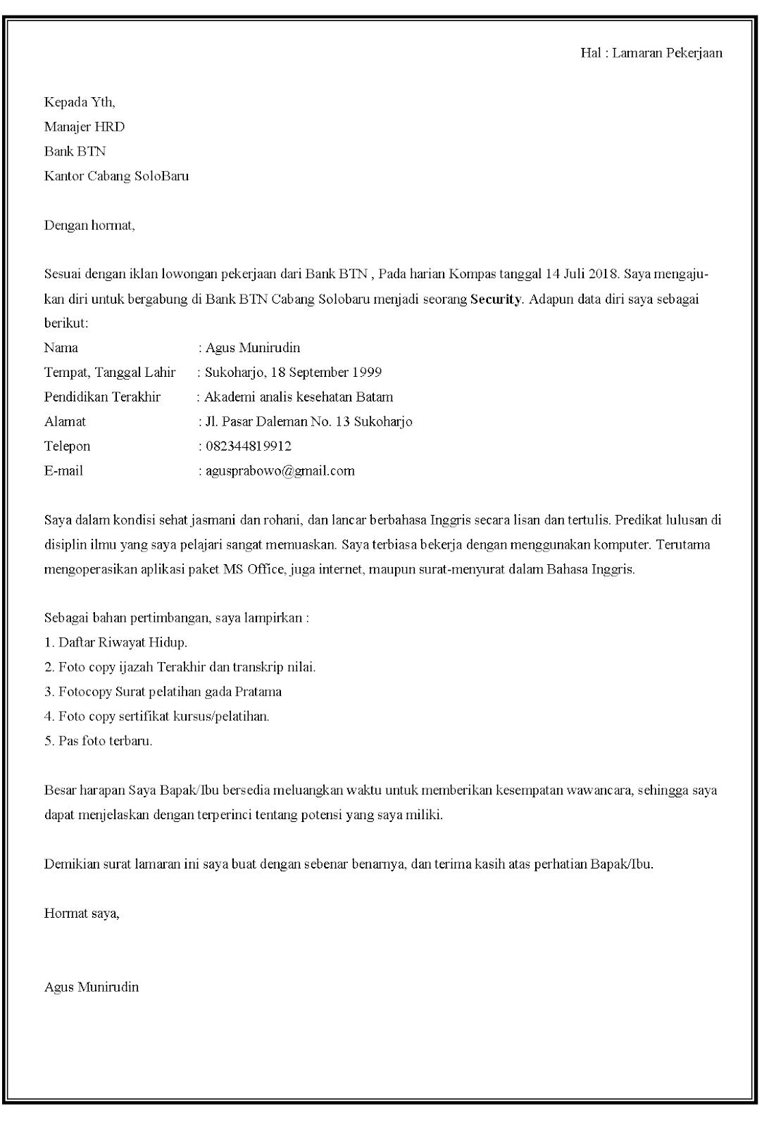 Contoh surat lamaran kerja security di Bank BTN.