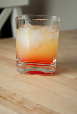 sake sunrise, sake, pineapple juice, grenadine