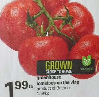 Ontario greenhouse tomatoes on the vine $1.99 per lb