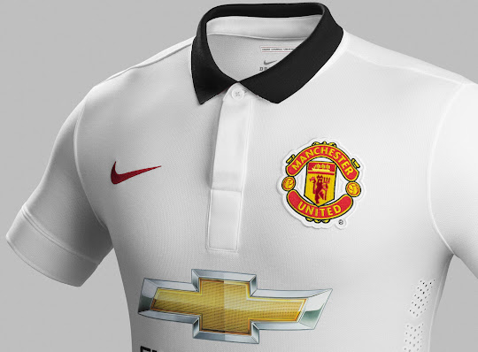 86a1e0fd911 The Chevrolet sponsor logo is gold   black. The shorts of the new  Manchester United 14-15 Away Kit are black  red