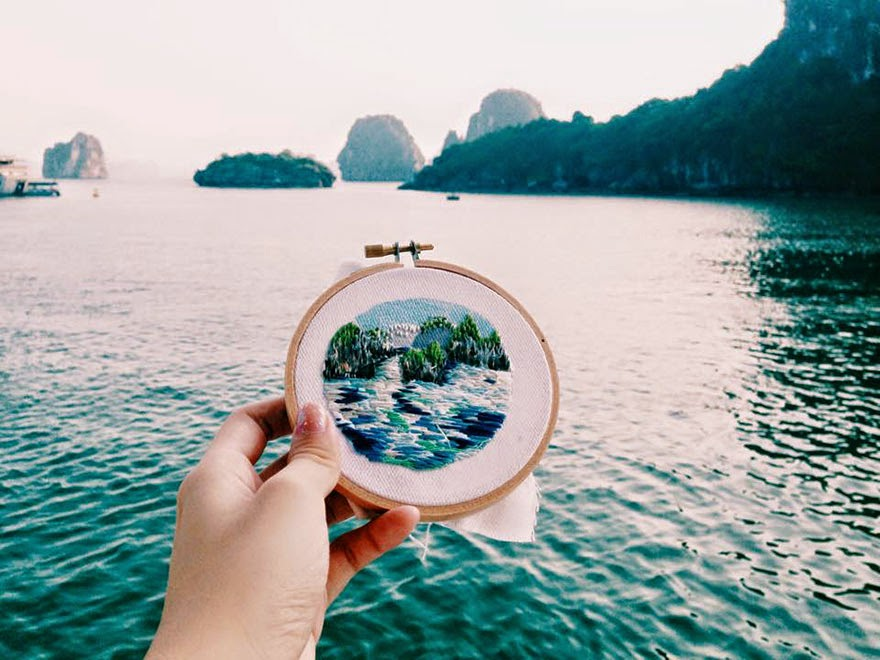 Vietnam, Ha Long Bay - Sew Wanderlust: Designer Embroiders Her Travels On-Site Instead Of Taking Photos