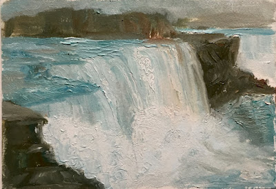blue and brown painting, winter solstice, Niagara falls art