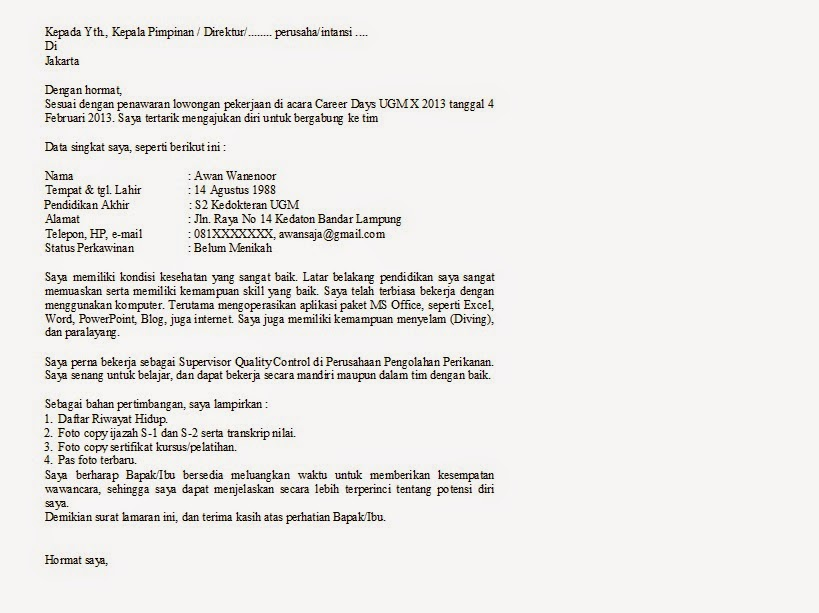 Contoh surat lamaran kerja dan cv on flipboard altavistaventures Choice Image