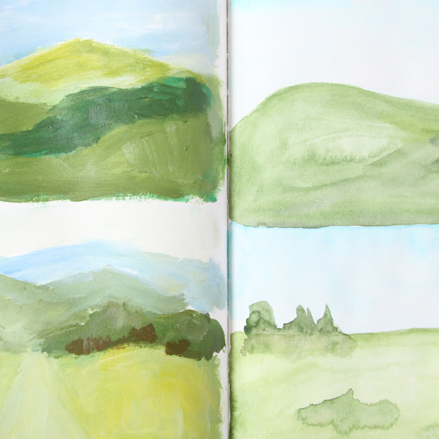2x2, 2x2 sketchbook, #2x2sketchbook, sketchbooks, collaborative art, Dana Barbieri, Anne Butera, Landscape paintings