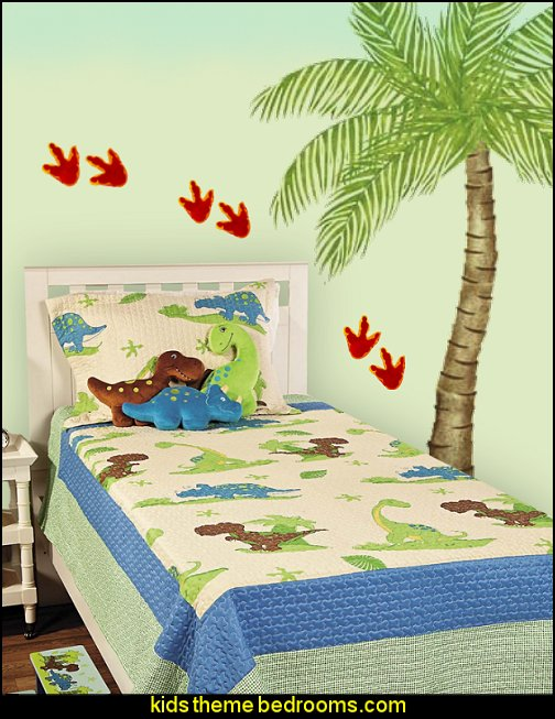 Dino  Quilt Palm Tree Wall Stencil DINOSAUR 3-TOED FOOT PRINT FLOOR DECAL