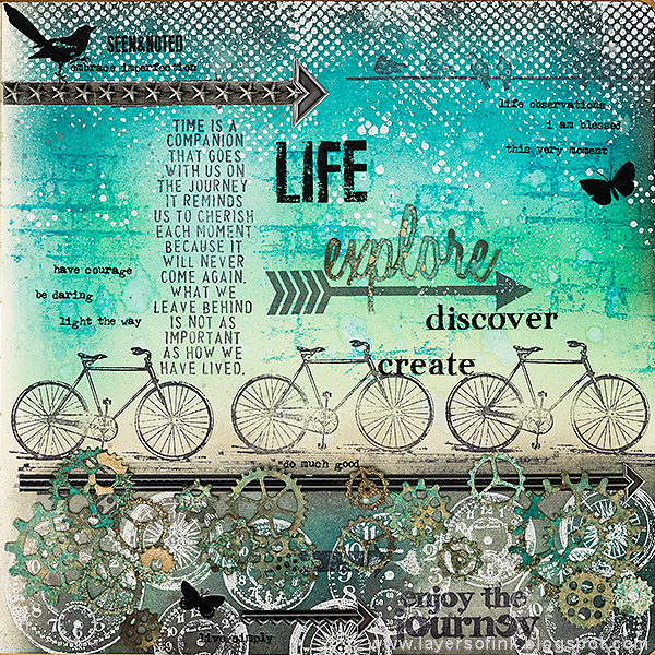 Layers of ink - Explore, Discover, Create Journal Page by Anna-Karin with stamps by Tim Holtz