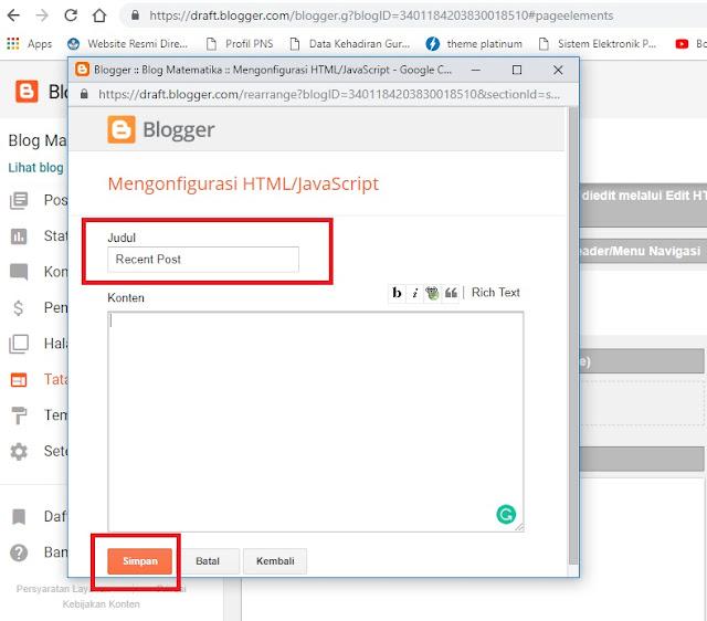 Menambahkan Widget Postingan Terbaru di Blog