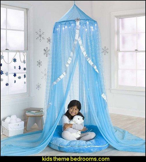 Snowflake Castle Hideaway  Frozen theme Elsa bedroom - Elsa theme bedroom ideas - princess Disney Frozen - Winter theme decorations -  Frozen room decorating ideas - Disney Frozen themed decor - Queen Elsa Frozen theme bedroom decor  - Disney Frozen bedroom decorating ideas - snow queen bedroom ideas