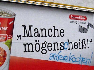 Lustige Werbung - Plakat über Essen - Fertiggerichte