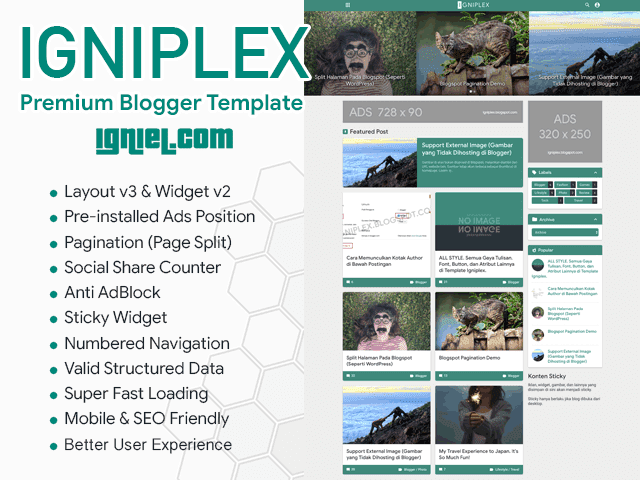 Igniplex Responsive Blogger Template
