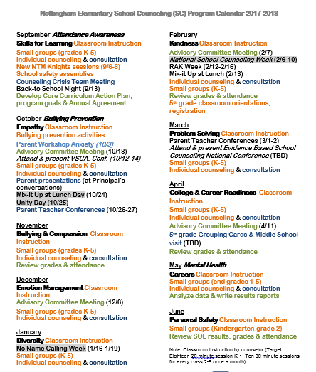 elementary counseling blog school counseling program annual calendar