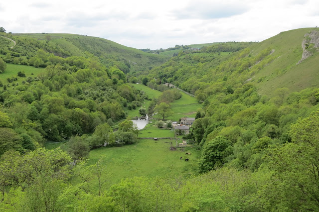 The river winding through farmland and the steep sides of the dale.