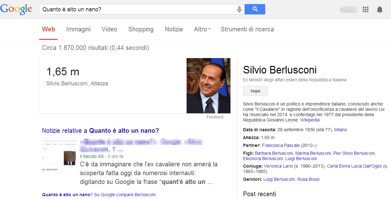 For Google, Berlusconi is a midget