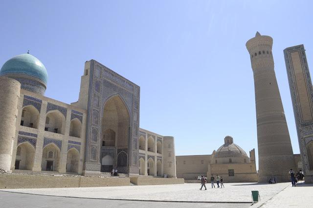 things to see and do in Bukhara Uzbekistan Kalyan Minaret and Miri Arab Madrasah