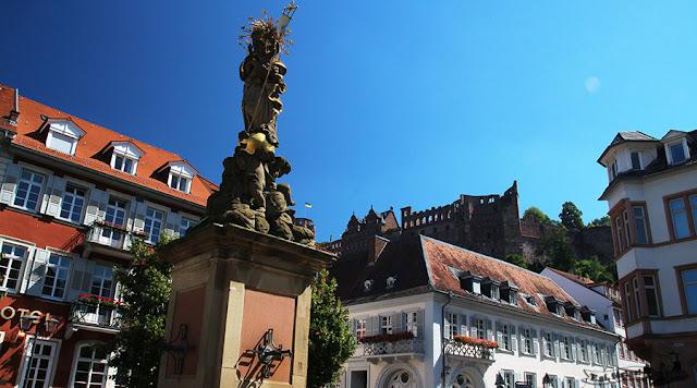 Kornmarkt e o castelo de Heidelberg