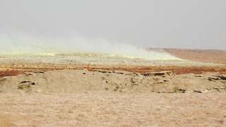 Sulfur steam out of the volcano in Ethiopia