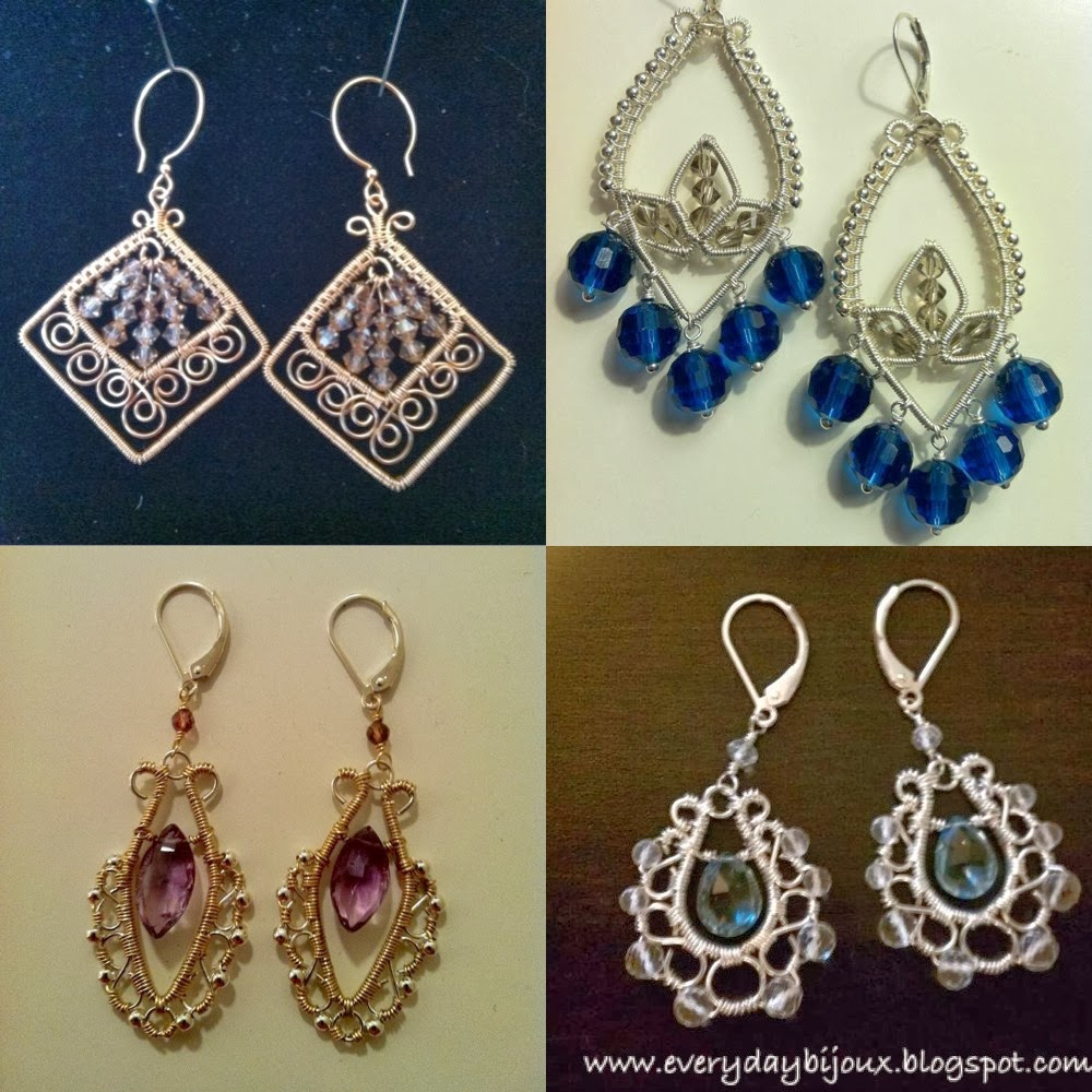 I Ve Made Greek Inspired Earrings Wire Filigree Showcasing Amethyst And London Blue Topaz Even A Pair Of Lotus For My Sister