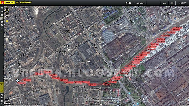 Трек с GPS-трекера MySafe T300A, услуга Спутниковый мониторинг от Velcom