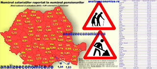 Topul județelor după raportul între salariați și pensionari