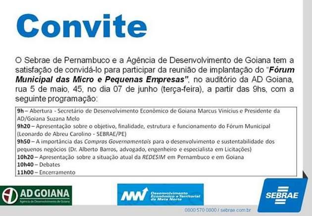 Unidade do Sebrae em Goiana realiza reunião de implantação do Fórum Municipal