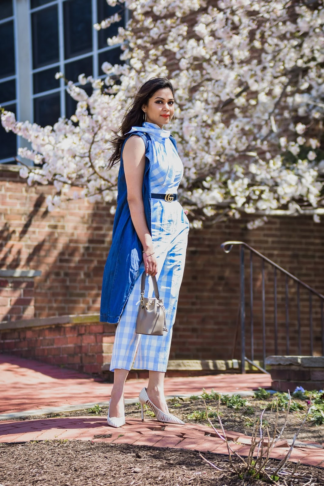 Dc cherry blossom, facts about cherry blossom, DC festival, spring in DC, must see in DC, thinks to do in Dc, j crew plaiod jumpsuit, blue jumpsuit outfit, caged white pumps, myriad musings, Saumya shiohare