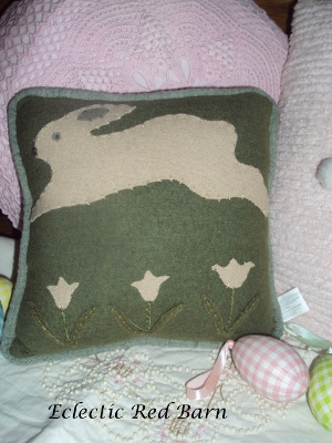 Eclectic Red Barn: Green bunny pillow and fabric covered eggs