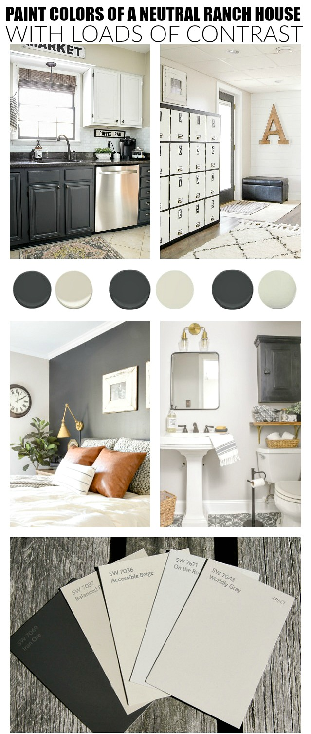 High contrast paint colors of a small ranch home