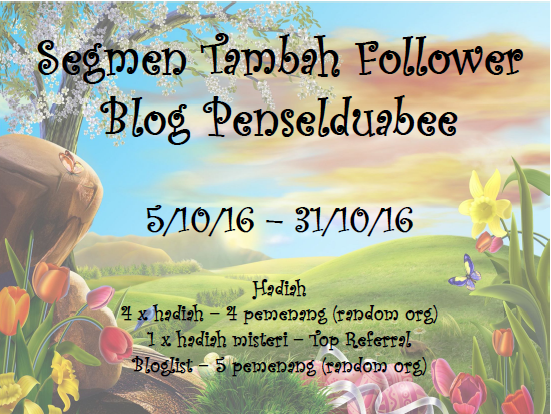 Segmen Tambah Follower Blog Penselduabee
