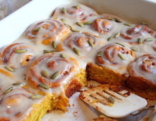 Pumpkin Cinnamon Rolls – The Least Scary Halloween Treat, Ever!