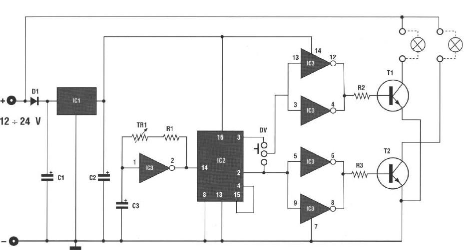 sch ma clignotant double ampoule pour voiture et antivol electronique electricit. Black Bedroom Furniture Sets. Home Design Ideas