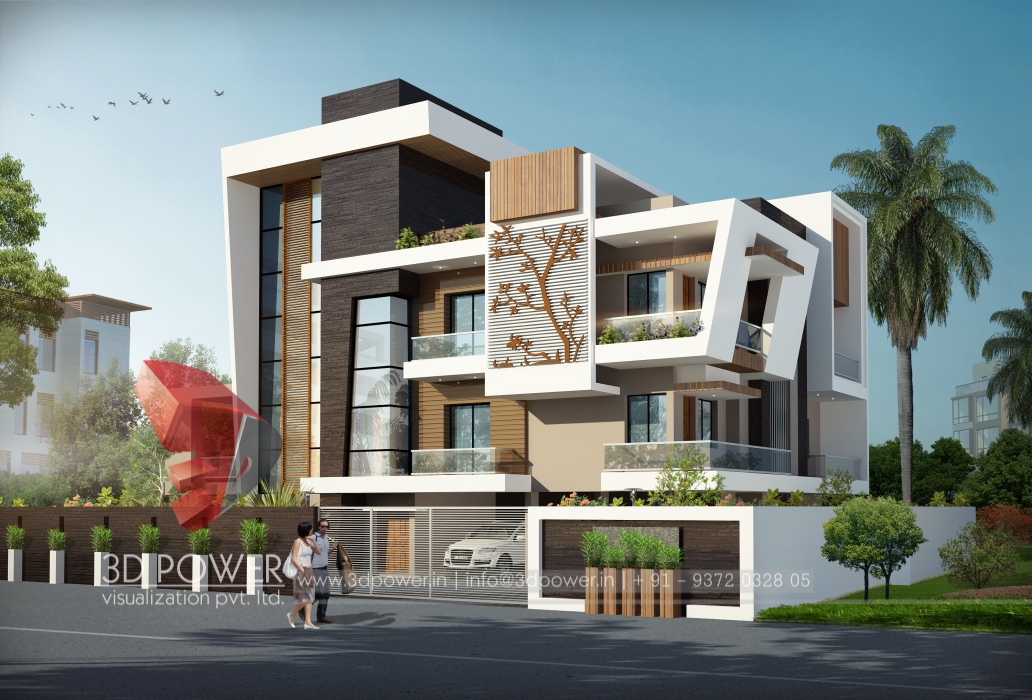 Township apartments design 3d rendering new modern for Small bungalow house plans in india