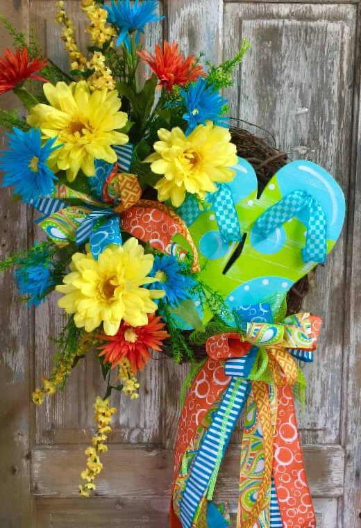 Floral Summer Wreath with Flip Flops