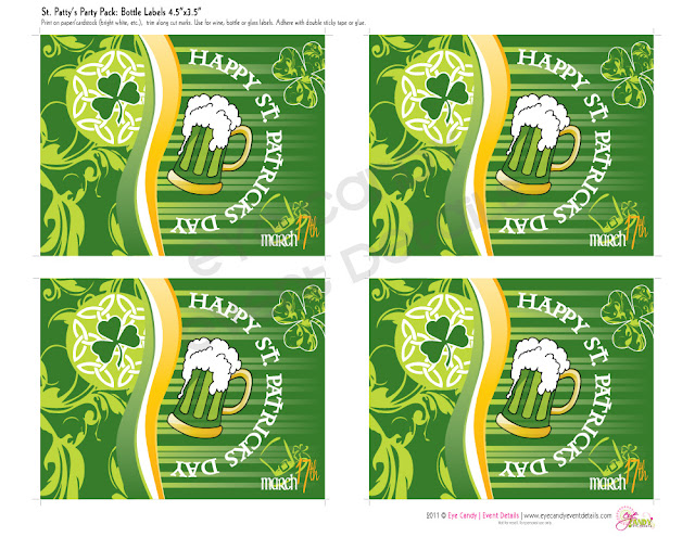 st patty's day party, st paddys day bottle labels, lucky, beer labels