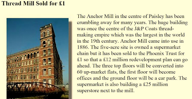 Anchor Mill purchased by Phoenix Trust for redevlopment, article from Rampant Scotland Newsletter, 31 May 2003
