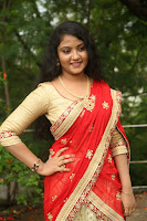 Akshara in Red Saree Golden Choli at LV Movie Makers Production No 1 Movie Opening ~  Exclusive 038.JPG