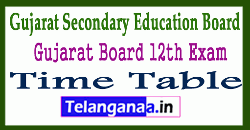 GSEB 12th Exam Time Table