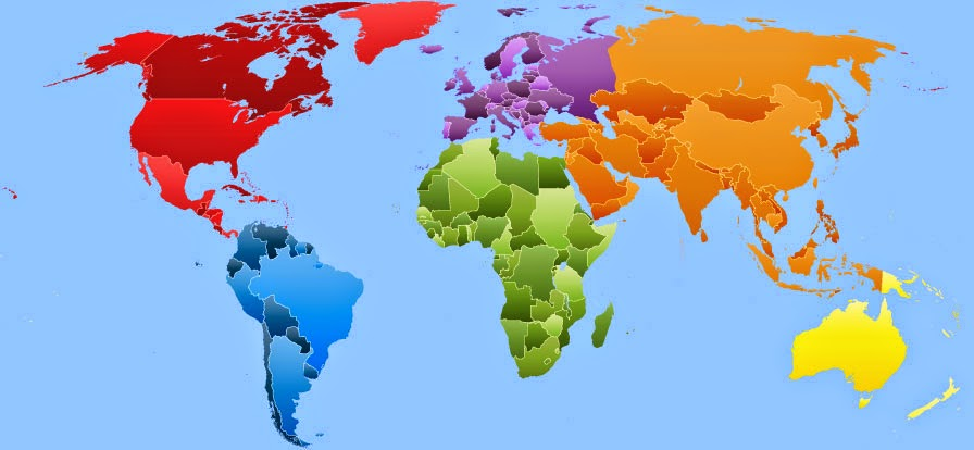 Printable map of the 7 continents each distinguished by a different bright color.
