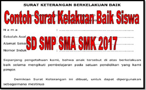 Contoh Surat Kelakuan Baik Siswa SD SMP SMA SMK 2017