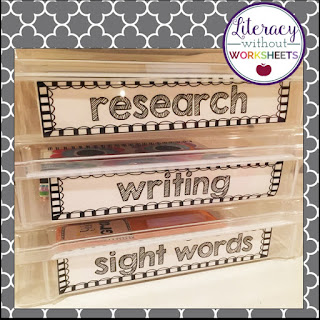 Label everything so students can easily find their work station and materials.
