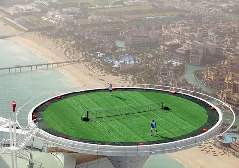 Extreme Luxury: Helipad of the Burj Al Arab doubles as a tennis court