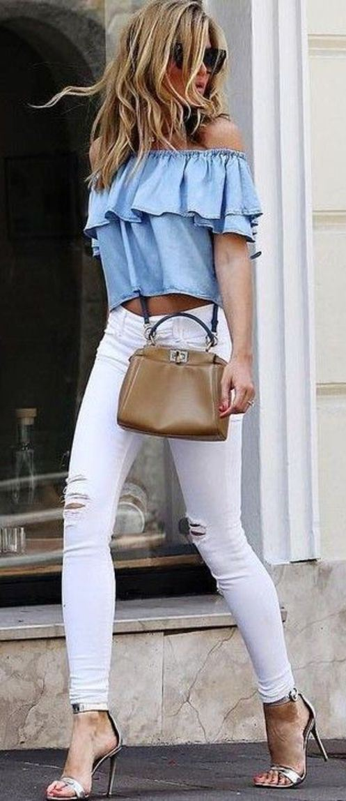 cute outfit / blue off-shoulder top + bag + white ripped jeans + heels
