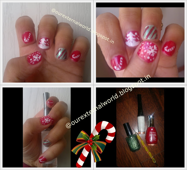 Christmas Nail Art - Snow Flake, Candy Cane, Snow Covered Tree