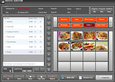 Software Mesin Kasir Restoran Touch Screen
