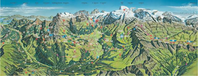 Mapa do Monte Titlis no verão, Engelberg, Suíça