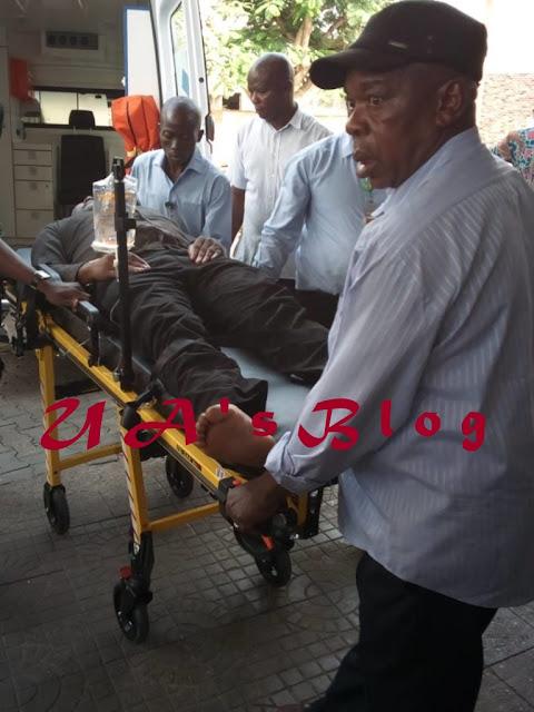 JUST IN: Sen. Dino Melaye Taken To Zankli Hospital After Allegedly Jumping Off Police Van {PHOTOS}
